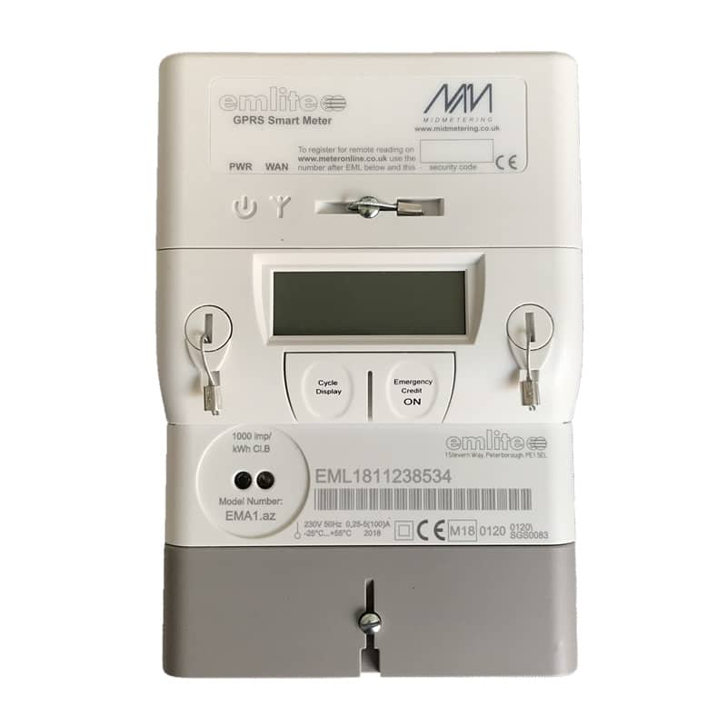 EMGSM1 Single phase Smart Meter – comes with modem and SIM card to include  1 year meter reading data via MeterOnline