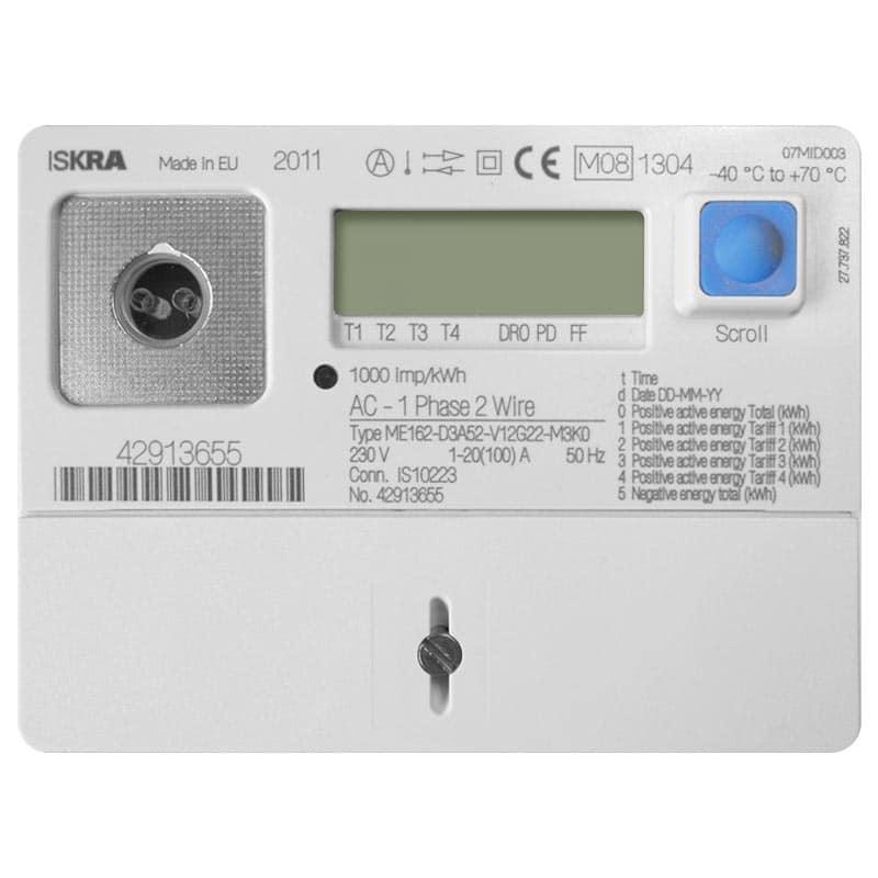 Voorbeeld digitale meter met terugleverregistratie - geschikt voor zonnepanelen