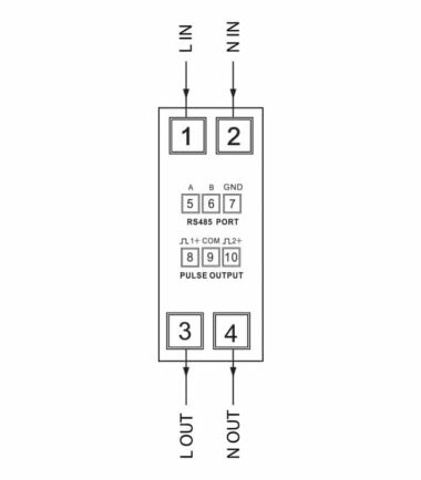 Smartrail X100-MID single phase digital multifunction meter diagram