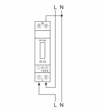 Smartrail x45DB-MID single phase digital kWh meter diagram