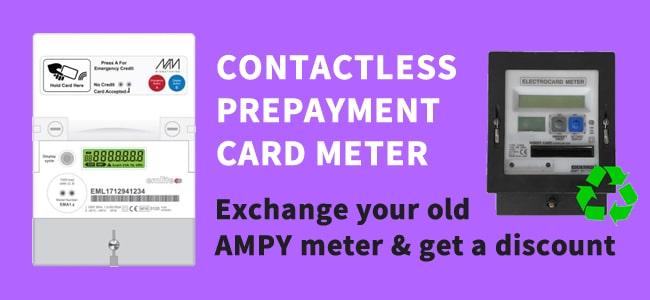 Contactless prepayment card meter
