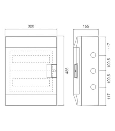 ABB Mistral 36 module din rail-meter enclosure dimensions