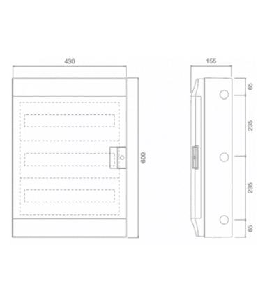 ABB Mistral 54 module din rail-meter enclosure dimensions