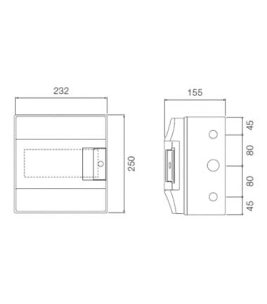 ABB Mistral 8 module din rail-meter enclosure dimensions